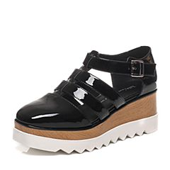 Tata/他她春季专柜同款黑色漆牛皮女凉鞋2LK01AK6