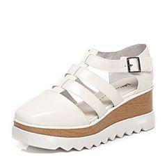Tata/他她春季专柜同款白色漆牛皮女凉鞋2LK01AK6