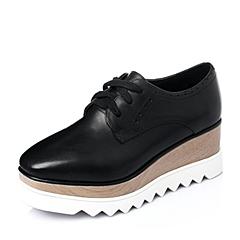 Tata/他她2016年春季黑色小牛皮革女单鞋2LK25AM6