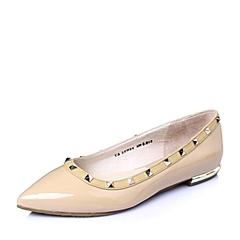 Tata/他她2016春暗粉/棕黄漆牛皮革时尚铆钉方跟低跟浅口女单鞋2PH04AQ6