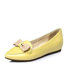 Tata/他她2016年春季黄色珠光羊皮淑女时尚女单鞋2R816AQ6