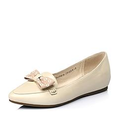 Tata/他她2016年春季米白色珠光羊皮淑女时尚女单鞋2R816AQ6