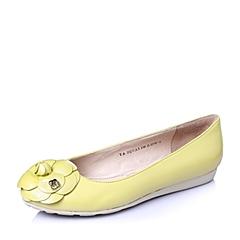 Tata/他她2016年春季黄珠光羊皮浪漫甜美坡跟浅口女单鞋2QCA3AQ6