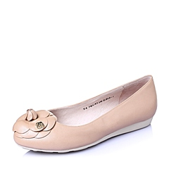 Tata/他她2016年春季浅粉珠光羊皮浪漫甜美坡跟浅口女单鞋2QCA3AQ6