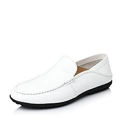Tata/他她2016春季白色时尚舒适牛皮革男休闲鞋YJH02AM6
