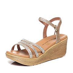 Tata/他她夏季专柜同款黄色亮片布水钻坡跟女凉鞋2NTB2BL6