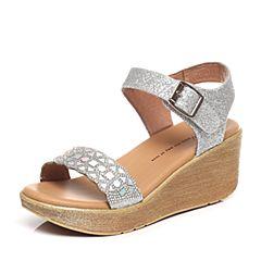 Tata/他她夏季专柜同款银色亮片布女凉鞋2NTA9BL6