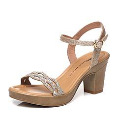 Tata/他她夏季专柜同款黄/金色时尚水钻粗跟女凉鞋2VP13BL6