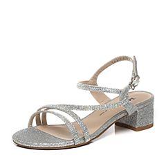 Tata/他她夏季专柜同款银色亮片布水钻方跟女凉鞋2US08BL6