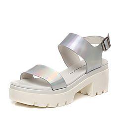 Tata/他她夏季专柜同款银色牛皮女凉鞋2RO02BL6