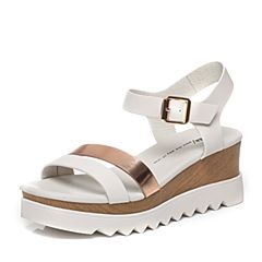Tata/他她夏季专柜同款女士白/金色时尚女皮凉鞋FA303BL6