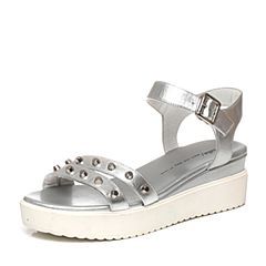 Tata/他她夏季专柜同款银牛皮舒适坡跟女凉鞋2PT02BL6