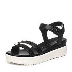 Tata/他她夏季专柜同款黑牛皮舒适坡跟女凉鞋2PT02BL6