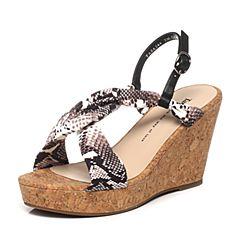Tata/他她夏季专柜同款黑灰/黑印花布坡跟女凉鞋2A244BL6