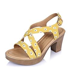 Tata/他她夏季黄色印花布女凉鞋 2VP17BL6
