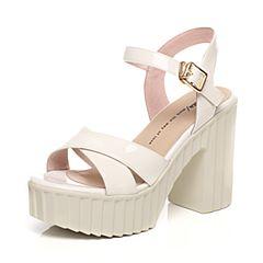 Tata/他她夏季专柜同款白色牛皮女凉鞋2W112BL6