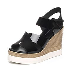 Tata/他她夏季专柜同款黑色牛皮女凉鞋2OX18BL6