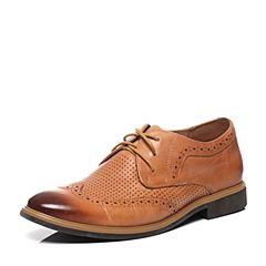 Tata/他她夏季专柜同款浅棕打蜡牛皮男单鞋F7720BM6