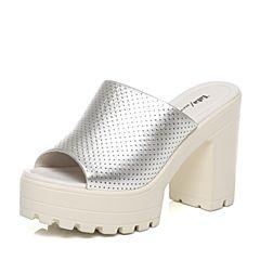 Tata/他她夏季专柜同款银色牛皮女凉鞋2W108BT6