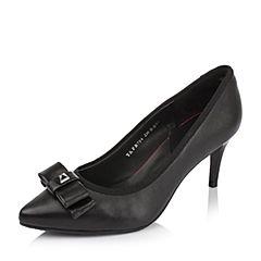 Tata/他她秋季黑色小牛皮蝴蝶结尖头鞋粗高跟女单鞋FB704CQ6
