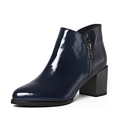 Tata/他她冬季深兰/黑牛皮通勤简约尖头粗高跟女靴FE146DD6