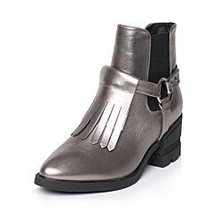 Tata/他她冬季灰色牛皮时尚流苏尖头套筒女短靴FD443DD6