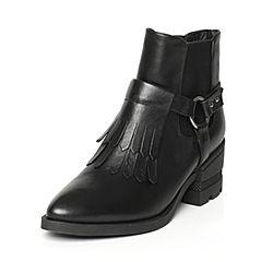Tata/他她冬季黑色牛皮时尚流苏尖头套筒女短靴FD443DD6