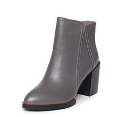 Tata/他她冬季灰色牛皮尖头鞋粗高跟女皮靴2U406DD6