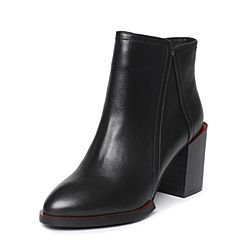 Tata/他她冬季黑色牛皮尖头鞋粗高跟女皮靴2U406DD6