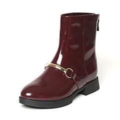 Tata/他她冬季专柜同款酒红色光面牛皮女休闲靴FE360DZ6