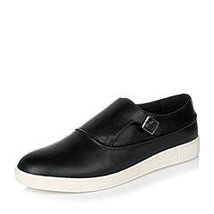 Tata/他她秋季黑色牛皮英伦时尚皮带扣懒人鞋男休闲鞋F7920CM6