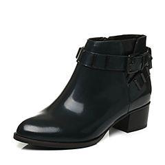 Tata/他她冬季绿色牛皮时尚皮带扣粗跟女休闲靴U4080DD6
