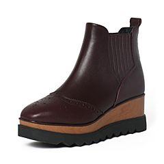 Tata/他她冬暗红牛皮时尚雕花坡跟短靴女休闲靴2LK40DD6
