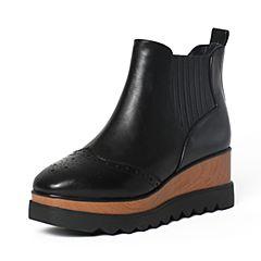 Tata/他她冬黑色牛皮时尚雕花坡跟短靴女休闲靴2LK40DD6
