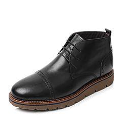 Tata/他她黑色牛皮绑带平底时尚短靴男休闲靴QQU46DD6