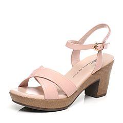 Tata/他她夏季粉色羊皮时尚简约女凉鞋WU202BL6
