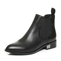 Tata/他她秋季黑色牛皮时尚通勤套筒及踝靴方跟女短靴U3305CD6