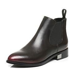 Tata/他她秋季红色牛皮通勤擦色套筒方跟及踝靴女短靴RXU30CD6