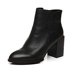 Tata/他她冬季黑色牛皮尖头粗高跟及踝靴女皮靴U4062DD6