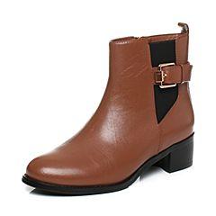 Tata/他她冬季棕色羊皮通勤皮带扣方跟女短靴3U433DD6