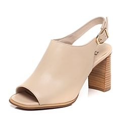 Tata/他她2017春季专柜同款浅杏色牛皮女皮凉鞋FK603AL7