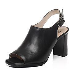 Tata/他她春季专柜同款黑色小牛皮女凉鞋FK603AL7