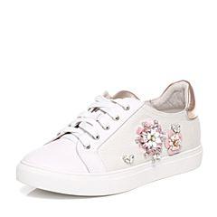 Tata/他她春季专柜同款白色斜纹布女休闲鞋FDC21AM7