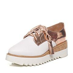 Tata/他她2017年春季专柜同款粉金/白牛皮女休闲鞋FG520AM7