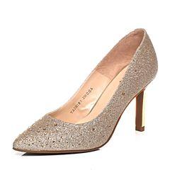 Tata/他她2017年春季专柜同款金色亮片布女单鞋2H5B9AQ7