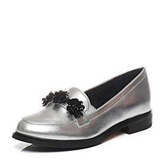 Tata/他她2017年春季专柜同款银色牛皮女皮鞋2I219AQ7