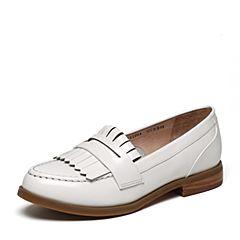 Tata/他她2017年春季专柜同款白色光牛皮女皮鞋2I2G4AQ7