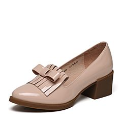 Tata/他她2017年春季专柜同款浅粉色漆牛皮女皮鞋2Q909AQ7