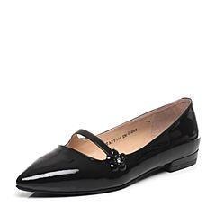 Tata/他她专柜同款黑色漆牛皮水钻花朵尖头女玛丽珍鞋FF104AQ7