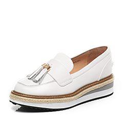 Tata/他她2017春季专柜同款白色牛皮女皮鞋FG205AQ7